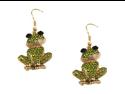Goldtone Green Crystal Frog Dangle Fashion Jewelry