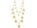 Goldtone 2 Strand Yellow Long Necklace and Earring Set, 30""