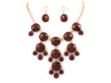 Goldtone Brown Bubble-Style Statement Necklace and Earrings Set