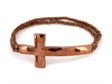 Copper Tone Double Bead Cross Stretch Bracelet