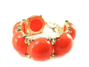 Goldtone Wide Orange Bubble Bracelet Fashion Jewelry