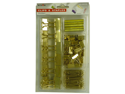 Gold Office Supply Set: Binder Clips, Paper Clips, and Staples