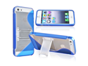 eForCity TPU Rubber Skin Case with Stand Compatible with Apple® iPhone 5, Blue S Shape