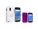 Purple+White Snap-on Rubber Hard Case Cover compatible with Samsung© Galaxy S2 T989 T-Mobile