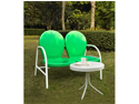 Crosley Griffith 2 Piece Metal Outdoor Conversation Seating Set Loveseat & Table in Grasshopper Green