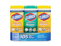 Clorox Disinfecting Wipes, 7 x 8, Lemon and Fresh, 35 Wipes/Canister, 3/Pack