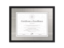 Contemporary Wood Document/Certificate Frame, Silver Metal Mat, 11 X 1