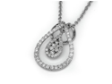 """18K White Gold Round Diamond Double Droplet With Pave Setting Diamond Pendant W/925 Sterling Silver Chain 18"""" (0.45 cttw, G-H Color, VS2-SI1 Clarity)"""