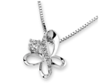 """18K White Gold Butterfly Prong and Pave Setting Diamond Pendant W/925 Sterling Silver Chain 18"""" (0.15 cttw, G-H Color, VS2-SI1 Clarity)"""