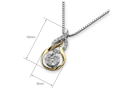 (X1000Diamond) 18K/750 Yellow & White Gold Double Pear with Round Cluster Diamond Pendant With 925 Sterling SilverChain (0.18 cttw, G-H Color, VS2-SI1 Clarity)