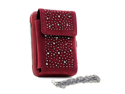 Cellphone iPhone case holder with frame wallet rhinestone decoration - red