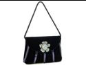Classy velvet clutch evening bag  jewel ornament - Dark navy