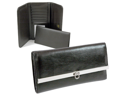 Leather like classic checkbook wallet black