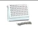 Dasein clutch with rhinestone/ studded top flap - white