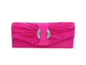 Pleated satin evening bag w/ rhinestone front hot pink