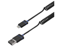 ILUV ICB261BLK IPAD(R) MINI/IPHONE(R) 5 PREMIUM COILED CHARGE/SYNC LIGHTNING CABLE