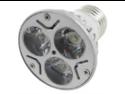 Amico Silver Tone Housing 3W E27 Base White Light LED Bulb Lamp AC 110-240V