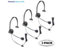 Panasonic Hands-Free Headset with Comfort Fit Headband 3 Pack For The Panasonic KX-TG6633B DECT 6.0 Cordless Phone Answering System Black