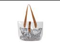 Bundle Monster PVC Vinyl Clear Transparent Carrier Beach Hand Carry Bag + Cheetah Print Cosmetic Tote - PLAIN CLEAR