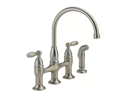 Delta 21966LF-SS Dennison Stainless Steel Two-Handle Bridge Kitchen Faucet with Spray