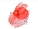 Red Mini Lolita Top Hat Fascinator Rose Birdcage Veil