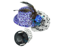 Blue Leopard Mini Top Hat Fascinator Feather Rose Veil