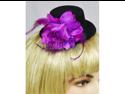 Purple Burlesque Pin-Up Black Mini Top Hat Fascinator