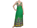 Green Vintage Yellow Paisley Print Maxi Dress