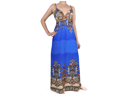 Deep Blue Paisley Braided Strap Maxi Dress