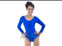 Shiny Blue Scoop Neck Long Sleeve Leotard Bodysuit