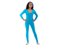 Turquoise Scoop Neck Long Sleeve Stirrup Unitard