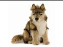 """Seated Wolf Cub 14.57"""" by Hansa"""