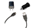Micro USB Data Cable + AC Charger + Car Charger for T-Mobile myTouch 4G Slide