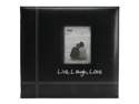 "Embroidered Stitched Leatherette Postbound Album 12""X12""-Black Live/Laugh/Love"