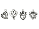 Blue Moon Plated Metal Dangle Charms-Silver Medium Heart Assortment 10/Pkg
