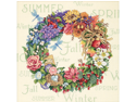 "Gold Collection Wreath Of All Seasons Counted Cross Stitch K-14""X14"""