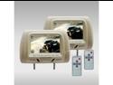 """New Tview T726pl-Tan 7"""" Tan Pair Lcd Car Headrest Tv Monitor W/ Ir Transmitter"""