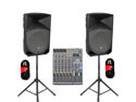 Mackie TH-12A Active DJ Powered THUMP Speakers, Mixer, Stands and Cables Set TH-12ASET2