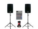 "Podium Pro 2 New 8"" Powered Active 800 Watt Speakers, Bluetooth, Mixer, Stands and Cables DJ Set PP802ASET2B"