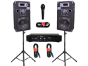 "Podium Pro 10"" Speakers Monitor Pair, Stands, Amp, Cables, Bluetooth and Mic Set for DJ 1000CSETB"