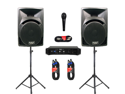 "Podium Pro 12"" Speakers, Stands, Amp, Bluetooth, Cables and Mic for PA DJ Home or Karaoke PP1210SETB"