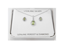 Ladies Sterling Silver 925 Pear Cut Peridot Diamond Accent Necklace Earrings Set