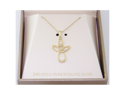 Ladies 24K Gold Over Sterling Silver 925 Angel Heart Pendant Necklace