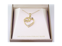 Ladies 24K Gold Over Sterling Silver 925 Swirl Heart Pendant & Necklace