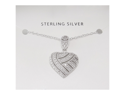 Ladies Sterling Silver 925 Filigree Diamond Accent Heart Pendant & Necklace