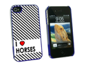 I Love Heart Horses - Snap On Hard Protective Case for Apple iPhone 4 4S - Blue