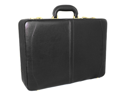 Austin Executive Leather Expandable Attache Case - Black