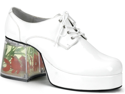 Mens White Disco Floating Fish Pimp Shoes