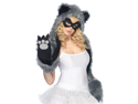 Raccoon Hood And Mask With Paw Scarf