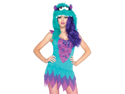 Sexy Womens Green Purple Monster Halloween Costume